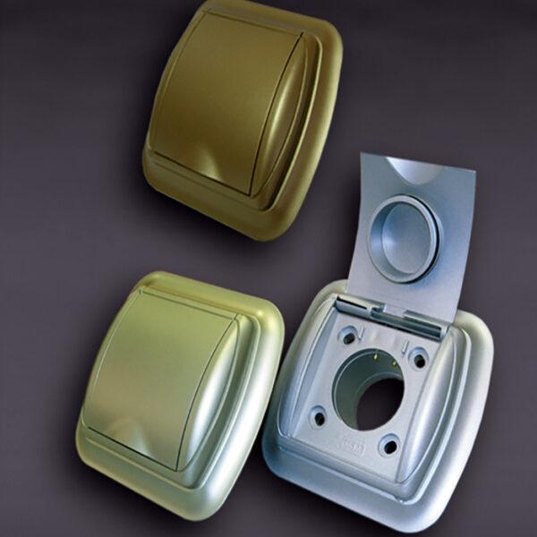 Евророзетка с рамкой серебро New Design